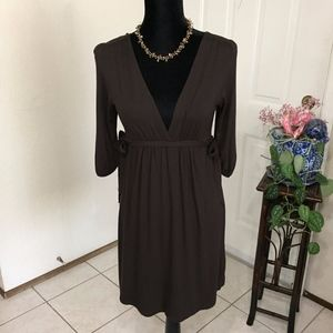 Zara Basics Women's Medium Brown Side Tie Dress